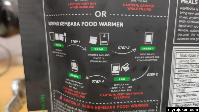 Cara cara untuk memanaskan pek makanan KEMBARA