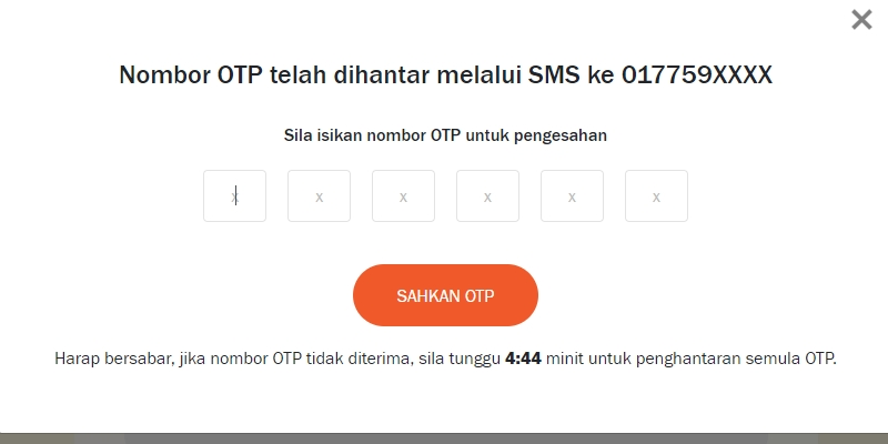 Nombor OTP i-Sinar