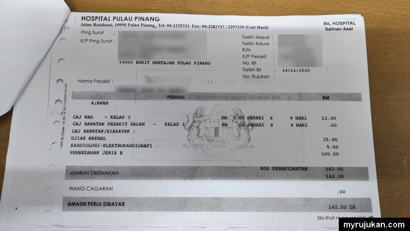 Bil hospital kerajaan untuk claim insuran