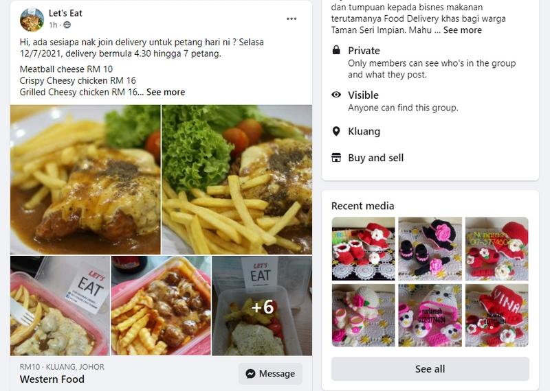 Contoh iklan bisnes makanan secara delivery di Facebook